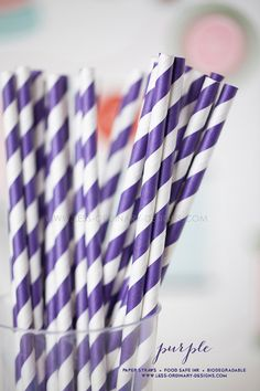 25 purple paper straws
