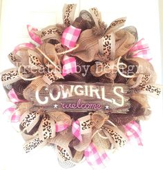 Western Cowgirls Welcome Wreath by WreathsbyDesign1 on Etsy, $80.00