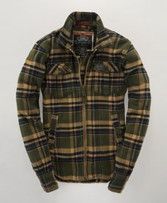 battle green Superdry Big-Zip Lumberjack Shirt