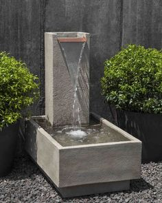 Campania International, Inc Concrete Falling Water Fountain Finish: Verde Water Wall Fountain, Garden Water Fountains, Water Gardens, Large Outdoor Fountains, Fountain Garden, Concrete Fountains, Stone Fountains, Wall Fountains, Modern Fountain