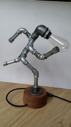 Lámpara de tubo de hierro  el hombre corriente por PureIron en Etsy
