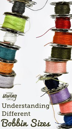Similar to many sewing tools, bobbins come in many various sizes and styles. Some are labeled with letters, like an 'M' or 'L' bobbin, while other are numbers, like 15. Knowing what type and size of bobbin your machine takes is important. Not all bobbins are clearly labeled with their size or style, however your machine manual should tell you what bobbin size your machine takes. ZJ shows several of the different sizes and explains what machines they are for. Larger bobbin sizes are typically... Diy Sewing Projects, Sewing Tools, Sewing Hacks, Sewing Tutorials, Sewing Ideas, Sewing Crafts, Quilting Tips, Machine Quilting, Skirt Patterns Sewing