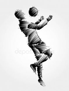 Drawing of soccer player jumping to dominate the ball - Stock Vector , Soccer Tattoos, Football Tattoo, Football Squads, Football Art, Soccer Drawing, Basketball Background, Soccer Players, Mug Designs, Photoshop Actions