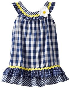 Youngland Baby Girls' Gingham Dress with Daisy, Navy/White, 24 Months