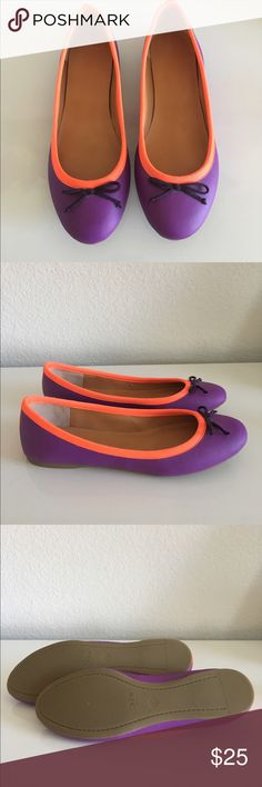 New J Crew Factory Ballet Flats Size 6 Brand new ballet flats that have never been worn. Color is purple with neon red trim. Faux leather and rubber sole. Does not come with box. No trades or PayPal. J.Crew Factory Shoes Flats & Loafers