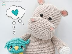FREE CROCHET pattern - Amigurumi Pattern: The hippopotamus Melman and his friend Pi – Tarturumies Crochet Animal Patterns, Crochet Doll Pattern, Stuffed Animal Patterns, Crochet Patterns Amigurumi, Crochet Dolls, Knitting Patterns, Crochet Hippo, Cute Crochet, Crochet Animals