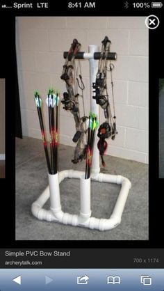 Gift for bro--Simple PVC Bow Stand. This would be a fun, simple project that would be great to have when practicing archery.