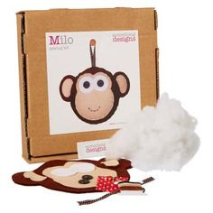 £17.50 - Milo Monkey Felt Sewing Craft Kit. Each craft kit includes pre-cut felt pieces, buttons, ribbon, stuffing, thread, needle, pins and full colour instructions. Each Something Sewn craft kit is prepared by hand, using only the finest materials.