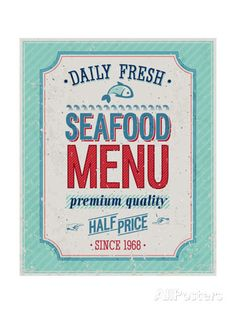 Vintage Seafood Poster Prints by avean – Sea Food Poster Art, Typography Poster, Poster Prints, Help Wanted Ads, Expendables, Framed Artwork, Wall Art Prints, Event Poster Design, Event Posters