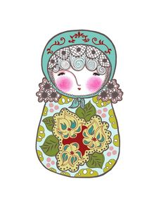 Pretty Matryoshka With a Blue Hat  Art Print by pipodoll on Etsy