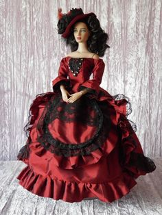 Allfordoll OOAK STYLE Victorian GOWN & HAT for 16  Sybarite Sydney Gene Dolls