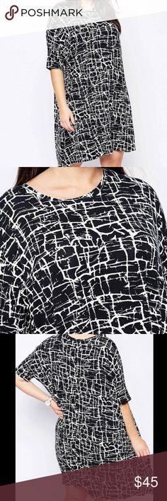 ASOS Curve T-shirt Dress in Mono Paint Print Plus Traffic stoping dress down or black and white T-shirt dress, pair it with sneakers, booties or heels. ASOS Curve Dresses Midi