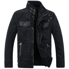 Male denim outerwear cool leather denim coat thickening plus velvet... ❤ liked on Polyvore