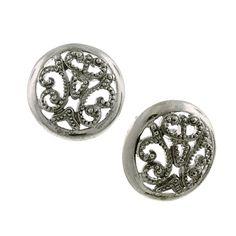 1928 Jewelry Tone Round Filigree Button Earring, Women's