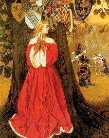 Frank Cadogan Cowper (English Pre-Raphaelite painter) 1877 - Lancelot slays the Caitiff Knight Sir Tarquin and rescues the Fair Lady and the Knights in Captivity, oil on canvas, x cm. Medieval Art, Medieval Fantasy, Medieval Times, Caballero Andante, John Everett Millais, Roi Arthur, Pre Raphaelite Brotherhood, Fair Lady, Chivalry