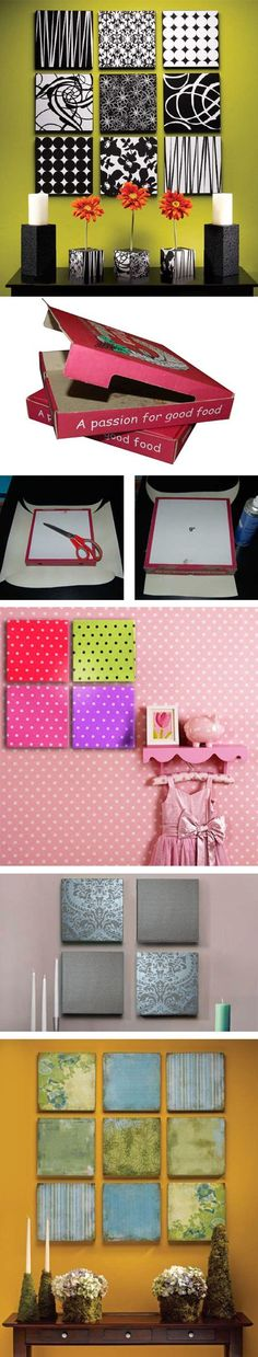 DIY Upcycled Pizza Boxes - home-dzine.co.za - Decorar reciclando cajas de pizzas