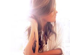 Love this feather.. Maybe on the inside of my arm opposite side of my other tattoo