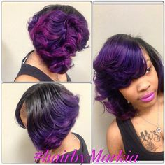 STYLIST FEATURE| Love this #curlybob➰ styled by #MilwaukeeStylist @Markia_Chapman✂️ Purple Passion #VoiceOfHair ========================= Go To: www.VoiceOfHair.com =========================  Free eBook on Hairstyles for Black Women