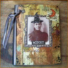 altered Halloween notebook ~ pumpkinseedmama on etsy
