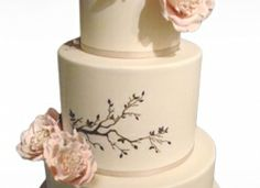 Spring Garden Wedding Cake With Cascading Sugar Flowers