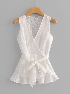 SheIn offers Eyelet Embroidered Wrap Blouse & more to fit your fashionable needs. Blouse And Skirt, Wrap Blouse, Blouse Styles, Blouse Designs, Casual Skirt Outfits, Rock Chic, Blouse Online, Mode Inspiration, Ladies Dress Design