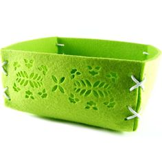Green felt basket Multipurpose Organizer Home Decor Storage Box Container Easter… Laser Cut Felt, Laser Cut Fabric, Laser Cut Box, Laser Paper, Laser Cutting, Gift Wrap Box, Laser Cutter Projects, Clothing Boxes, Basket Bag