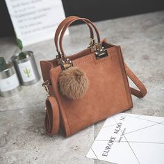 Cheap pu leather handbags, Buy Quality leather handbags directly from China handbags with fur Suppliers: NEW HOT SALE handbag women casual tote bag female large shoulder messenger bags high quality PU leather handbag with fur ball