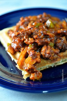 Sloppy Joes on Cornbread Waffles Recipe - This quick fix favorite is a cinch for delicious suppers! //©addapinch.com