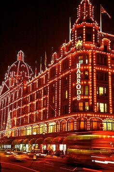 Christmas lights at Harrods -in  London via flickr