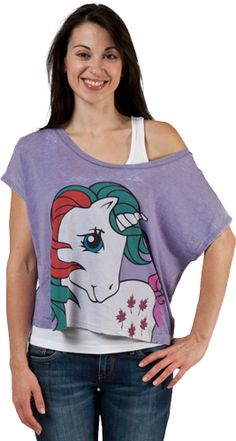 This Cropped My Little Pony shirt features the unicorn Gusty from the original 80's toy series.  This shirt is cropped and will show off your tummy.