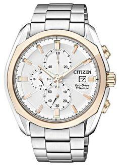 Montre Citizen Eco-Drive CA0024-55A, boîtier et bracelet en titane avec fonction date, 24h et réserve de marche.