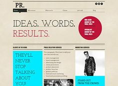 Public Relations Template - Give your PR or marketing company an edge with the hip fonts and sharp design of this free template. Show off yo. Internet Marketing, Online Marketing, Html Website Templates, Editing Writing, Public Relations, Web Design, Design Ideas, Highlight, Helpful Hints
