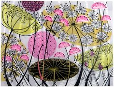 Printmaker Angie Lewin is a fabulous artist working in a range of printmaking techniques including lithography, silkscreen and etching. Illustrations, Illustration Art, Linocut Prints, Art Prints, Angie Lewin, Doodles, Wood Engraving, Print Artist, Print Patterns
