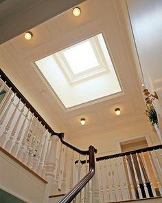 grand foyer w/skylight Bungalow Haus Design, House Design, Blue Granite Countertops, Suburban House, Grand Foyer, House Siding, Roof Light, Building A New Home, Staircase Design