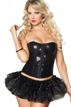 Sexy Womens Sequin With Skirt Over Bust Corset