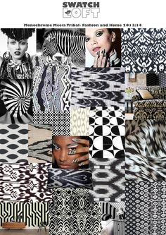 Monocrome Meets Tribal. This trend sees a marriage of the simple geometric and the tribal ikat to make a new cutting edge look with black and white patterns. Tribal influences continue to flourish, and simple pattern is key but when blending these two themes together something new and exciting emerges!