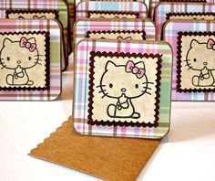 Hello kitty mini cards, note cards, gift cards, blank greeting cards in pink plaid, Set of 10 with handmade pocket envelopes