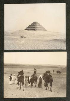 Visita a Egipto. Pirámide escalonada de Zoser. Dos fotografías del mismo momento de la visita a la Necrópolis de Saqqara. Archivo fotográfico. Colección general (formatos grandes)  http://bvirtual.bibliotecas.csic.es/csic:csicalepharc000088131