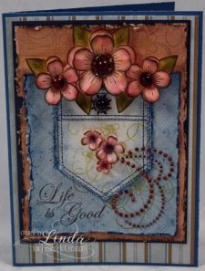 Distressed Posy Cluster Jean Pocket Card