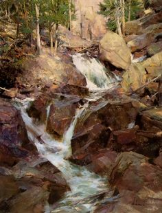 "Richard Schmid ""Mountain Stream"" Signed Limited Ed Framed Art, Award Winner, OBO Paintings I Love, Beautiful Paintings, Oil Paintings, Landscape Art, Landscape Paintings, Waterfall Paintings, Traditional Paintings, Art Oil, Gouache"