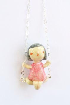 Sweet little doll charm in swing. Handmade jewellery by ploudoll     ✂…