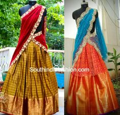 Heavy Border Kanjeevaram Bridal Half Sarees and Lehengas for weddings, engagement and half saree ceremony, pattu lehengas