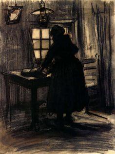 Woman cutting bread Vincent van Gogh