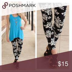 🆕ONLY 1 LEFT ⭐️Black and white flowers leggings Black and white flowers leggings   One Size Fits Most From 2-12.                    92% Polyester 8% Spandex Pants Leggings