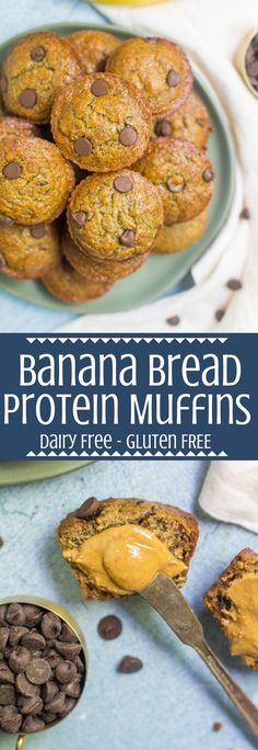 Recipes Snacks Muffins These Healthy Banana Protein Muffins are the perfect nutritious breakfast! Gluten/dairy free and packed with protein, they're delicious + easy to make! Banana Protein Muffins, Healthy Breakfast Muffins, Healthy Muffin Recipes, Eat Breakfast, Easy Recipes, Brunch Recipes, Banana Breakfast, Healthy Breakfasts, Brunch Ideas
