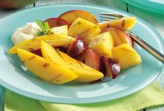 Honey Grilled Fruit with Lime-Mint Vinaigrette