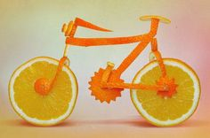 Bicycle made from oranges