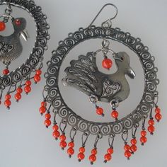 Vintage Silver Earrings Hoop and Bird with Coral Colored Beads Latin American