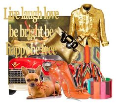"""""""DON'T CHEW MY SHOES! It's golden"""" by lisalovesshoes ❤ liked on Polyvore"""
