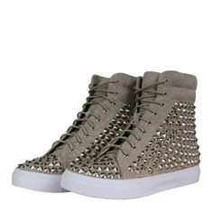 Jeffrey Campbell Alva Womens Hi Top Trainers AW12 Beige/Silver from www.hypedirect.com Jeffrey Campbell, Trainers, High Top Sneakers, Cool Outfits, Footwear, Beige, Lady, Silver, Clothes